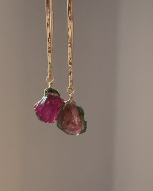 Raw Watermelon Tourmaline Earrings