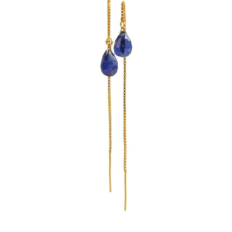 Blue Sapphire Threader Earrings - Boutique Baltique