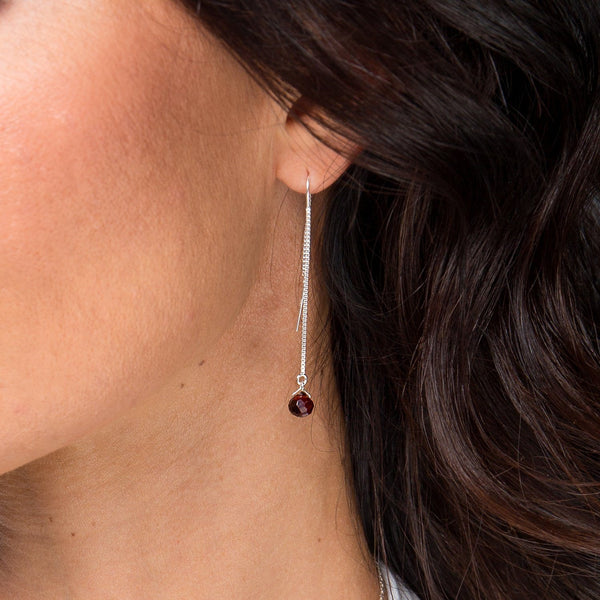 Garnet Threader Earrings - Boutique Baltique