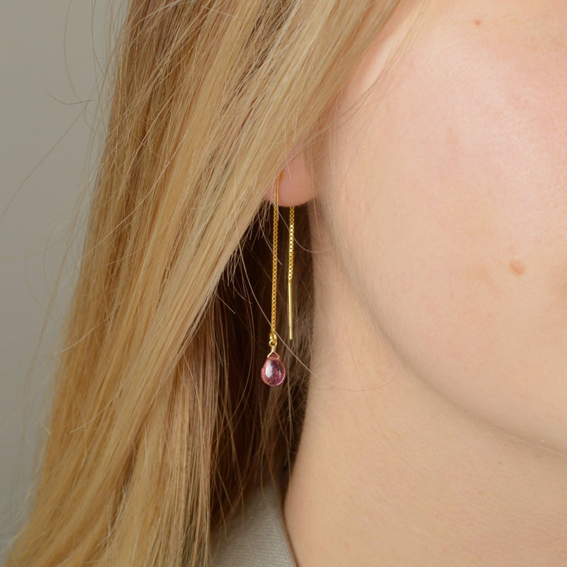 Rubellite Pink Tourmaline Threader Earrings - Boutique Baltique