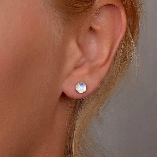 Rainbow Moonstone Stud Earrings, Rose Cut - Boutique Baltique