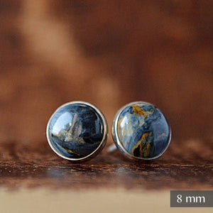 Pietersite Stud Earrings, Cat's eye, protection talisman - Boutique Baltique