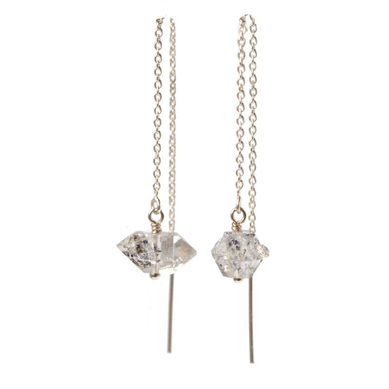 Raw Herkimer Diamond Quartz Threader Earrings - Boutique Baltique