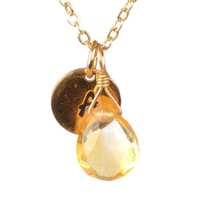 Citrine necklace with initial by Boutique Baltique