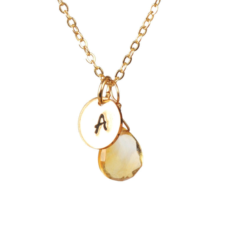 Birthstone necklace with initial by Boutique Baltique