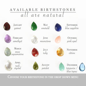 Gemstone selection for Birthstone necklace with initial by Boutique Baltique