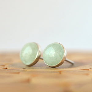 Milky Green Aquamarine Stud Earrings - Boutique Baltique