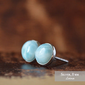Dominican Larimar Stud Earrings - Boutique Baltique