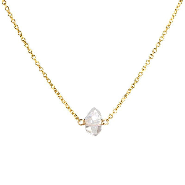 Raw Herkimer Diamond necklace in Gold