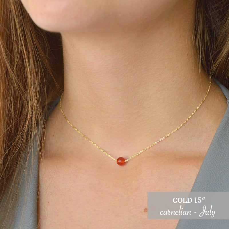 Orange Gemstone necklace, Tiny Floating Carnelian Dainty Stone Choker, July Birthstone in Gold, Rose Gold, Sterling Silver, Gift for Women
