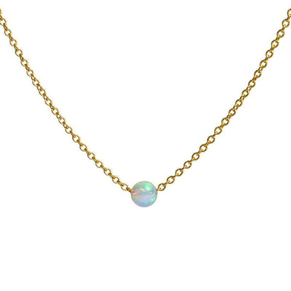 White Opal necklace - October Birthstone - Tiny Floating Gemstone Dainty Stone Choker, Crystal in Gold, Rose Gold, Silver, Gift for Women