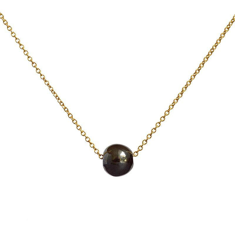 Black Gemstone necklace, Tiny Hematite, Floating Dainty Stone Choker, Healing Jewelry in Gold, Rose Gold, Silver, Gift for Women