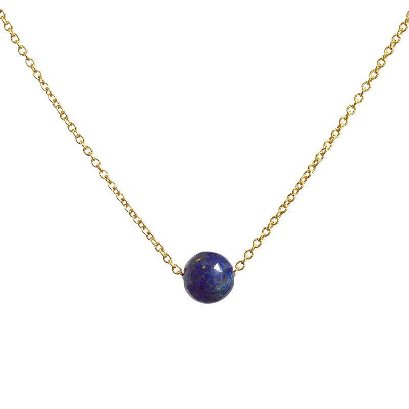 Blue Gemstone necklace, Tiny Lapis Lazuli Floating Dainty Stone Choker, September Birhstone: Gold, Rose Gold, Sterling Silver, Gift for Her