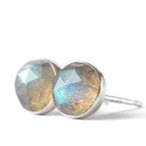 Labradorite Stud Earrings, Rose Cut - Boutique Baltique