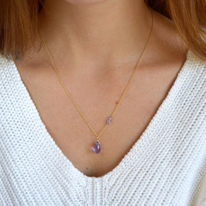Birthstone Pendant Necklace with sideway accents - Boutique Baltique