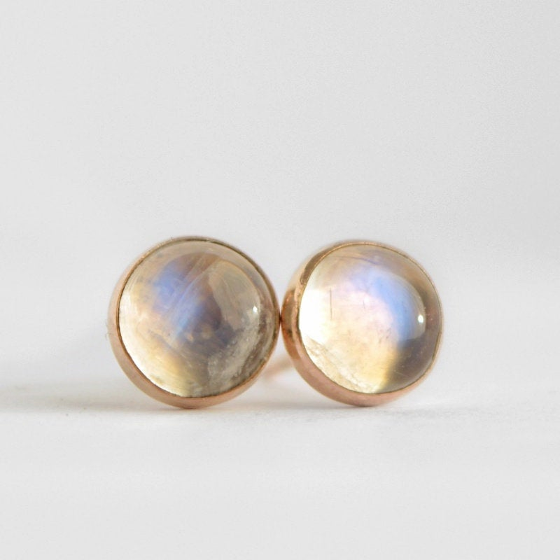 Rainbow Moonstone Stud Earrings - Boutique Baltique