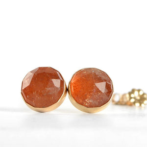 Sunstone Stud Earrings, 10mm Rose Cut - Boutique Baltique