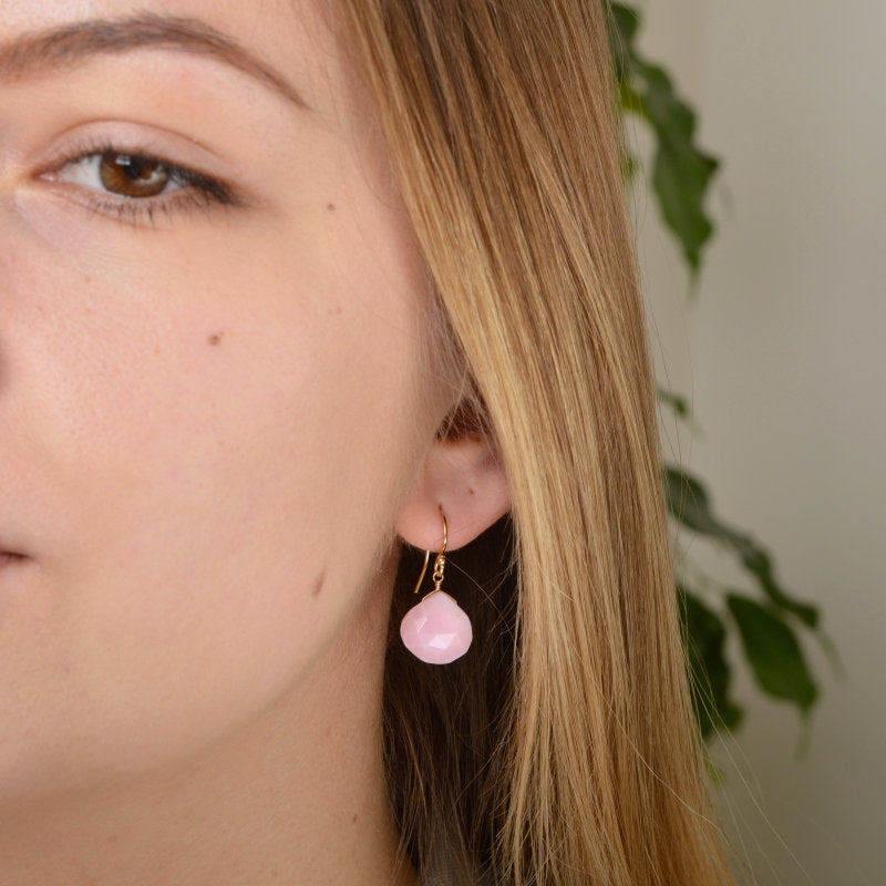 Large Pink Opal Earrings - Boutique Baltique