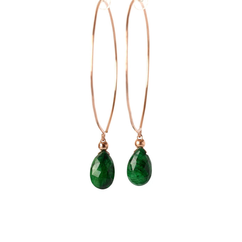 Emerald Hoop Earrings Bella - Boutique Baltique