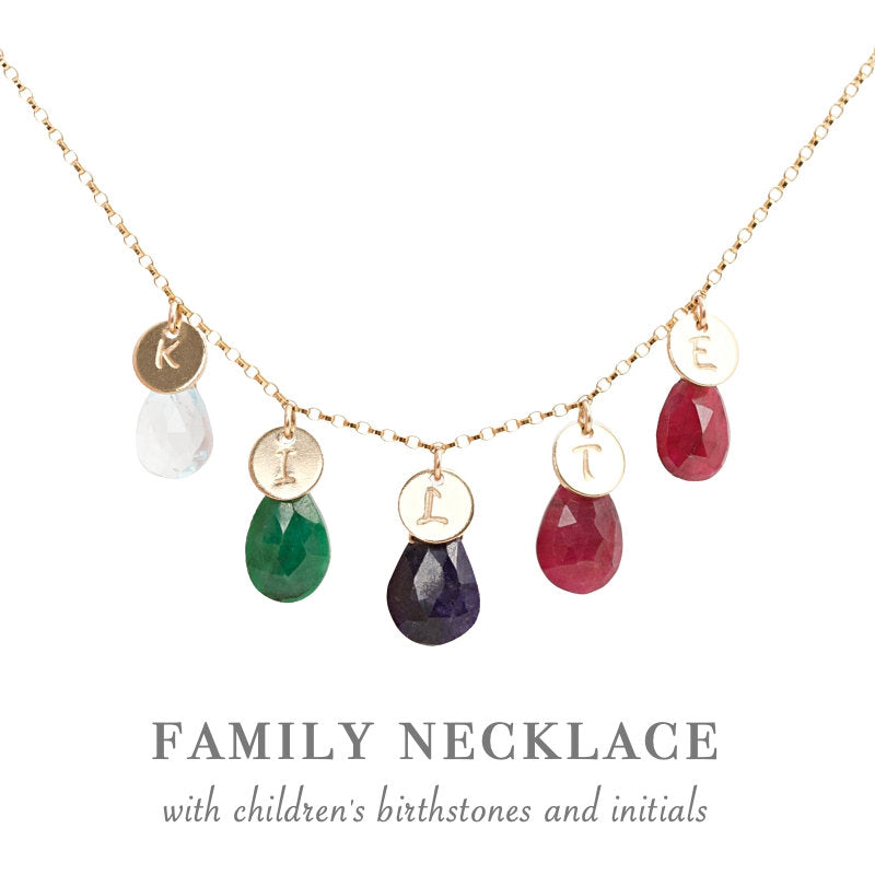 Mother Birthstone Necklace with initials in 14k Gold Filled