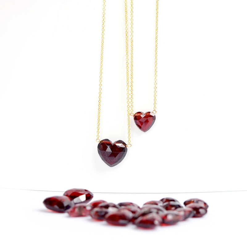 Heart Garnet Necklace