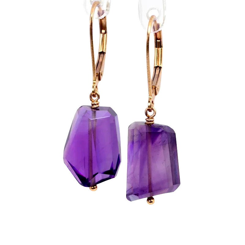 Amethyst Earrings, Step Cut - Boutique Baltique