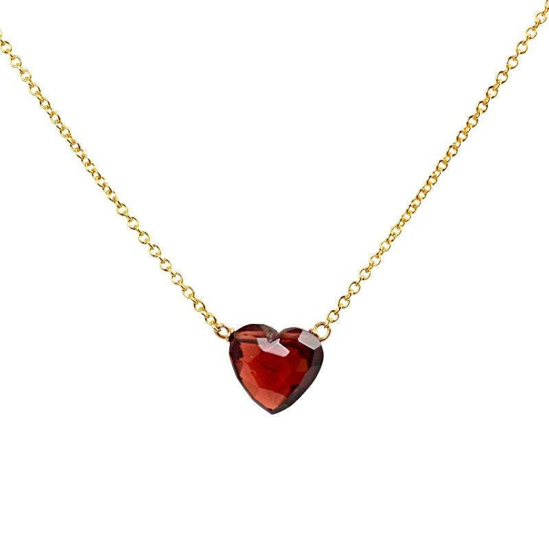 Heart Garnet Necklace in 14k Solid Gold, Rose Gold or White Gold Necklace