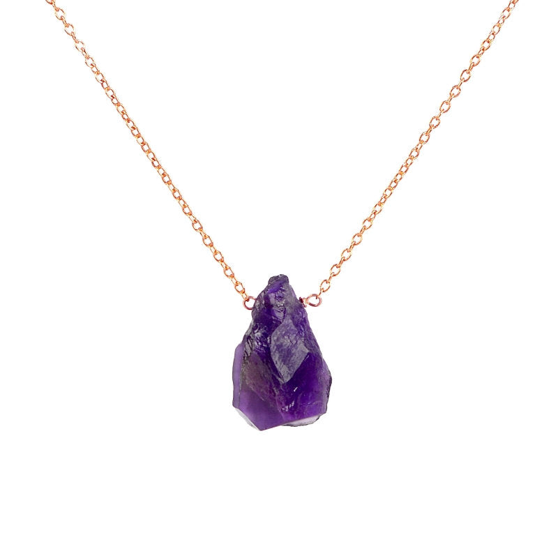 Raw Amethyst necklace in 14k Gold, Rose Gold or Sterling Silver - February Birthstone - Raw Stone, Raw Crystal Necklace, Gift for Women