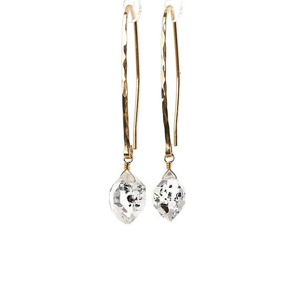 Raw Salt & Pepper Herkimer Diamond Earrings - Boutique Baltique