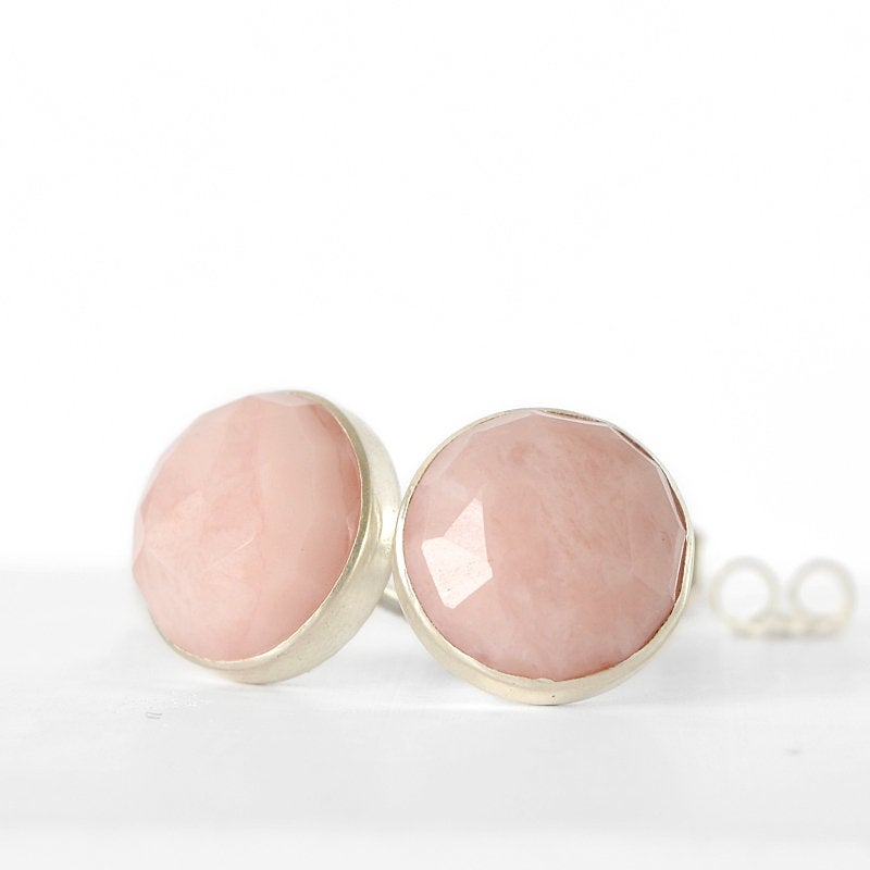 Pink Opal Stud Earrings - rose cut - Boutique Baltique