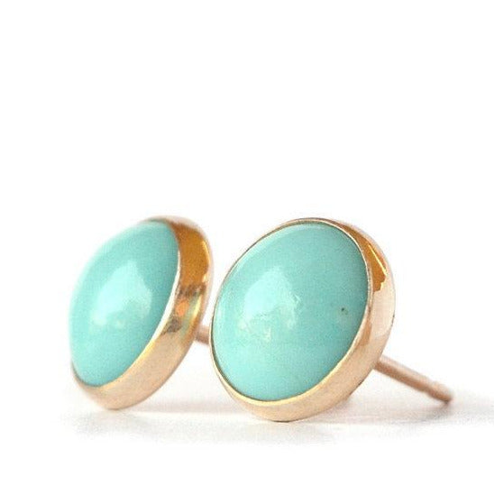 Sky Blue Arizona Turquoise Stud Earrings - Boutique Baltique