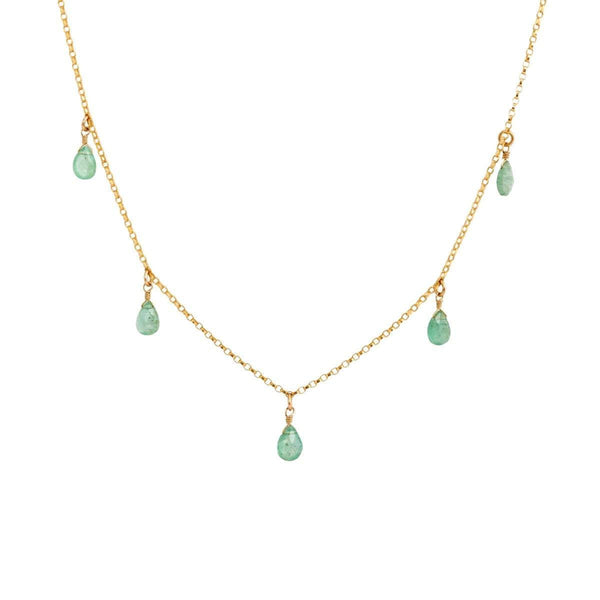 5 Gemstone Drop Necklace
