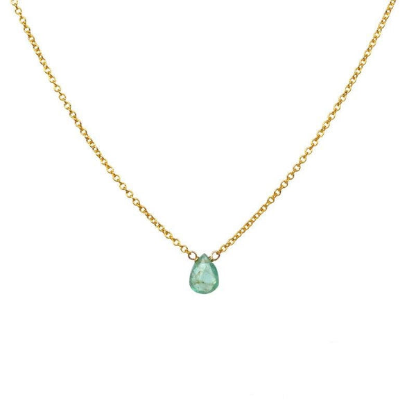 Tiny Zambian Emerald necklace
