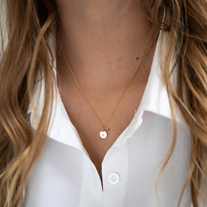 AURA Necklace, Personalized Initial Disc Pendant 14k Gold