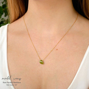 Raw Peridot necklace in 14k Gold