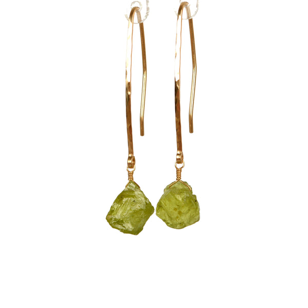 Raw Peridot Dangle Earrings in 14k Gold with hammered handmade earwires