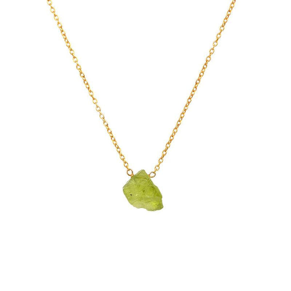 Raw Peridot Necklace in Gold with Meaning - Boutique Baltique