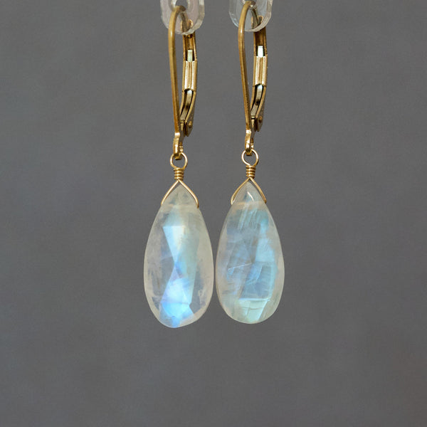 Large Rainbow Moonstone Earrings