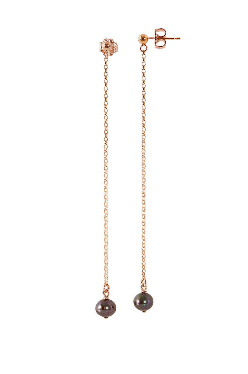 JUNO Black Freshwater Pearl Earrings in Rose Gold