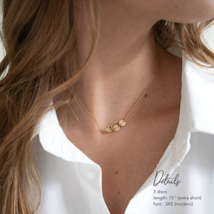 Dainty initial. disc necklace with 3 initials