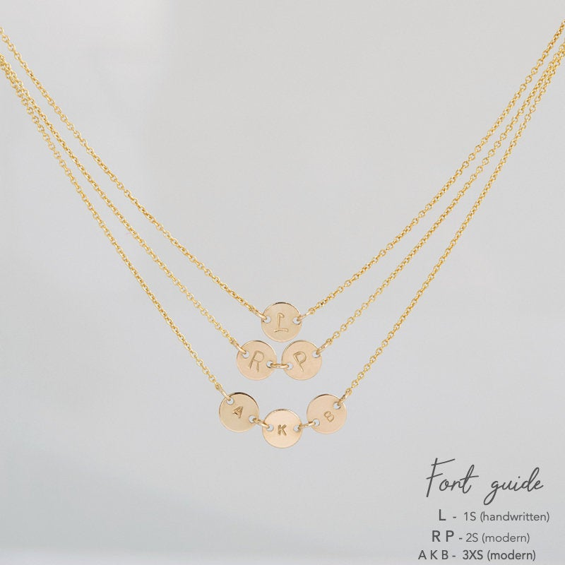 Dainty initial. disc necklace font guide