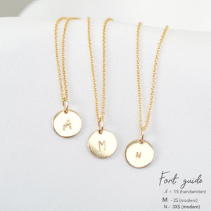 AURA Necklace, Personalized Initial Disc Pendant Gold