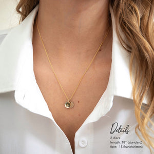 AURA Necklace, Personalized Multiple Initial Disc Pendant