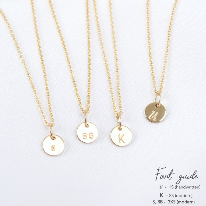 DIA Necklace, Dainty Initial on 6mm Disc Pendant in 14k Gold filled