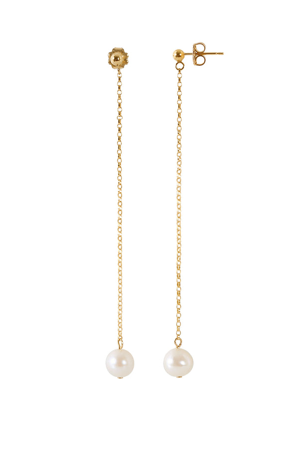 LUNA Freshwater Pearl Long Dangle Earrings in 1k Gold