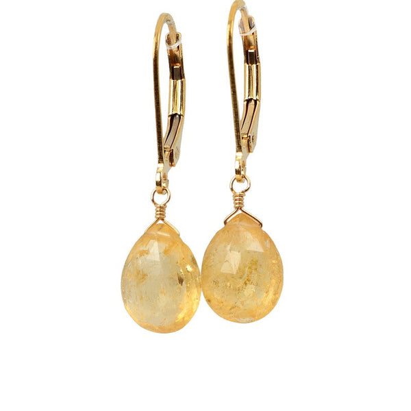 Imperial Topaz Earrings in Gold with Leverbacks