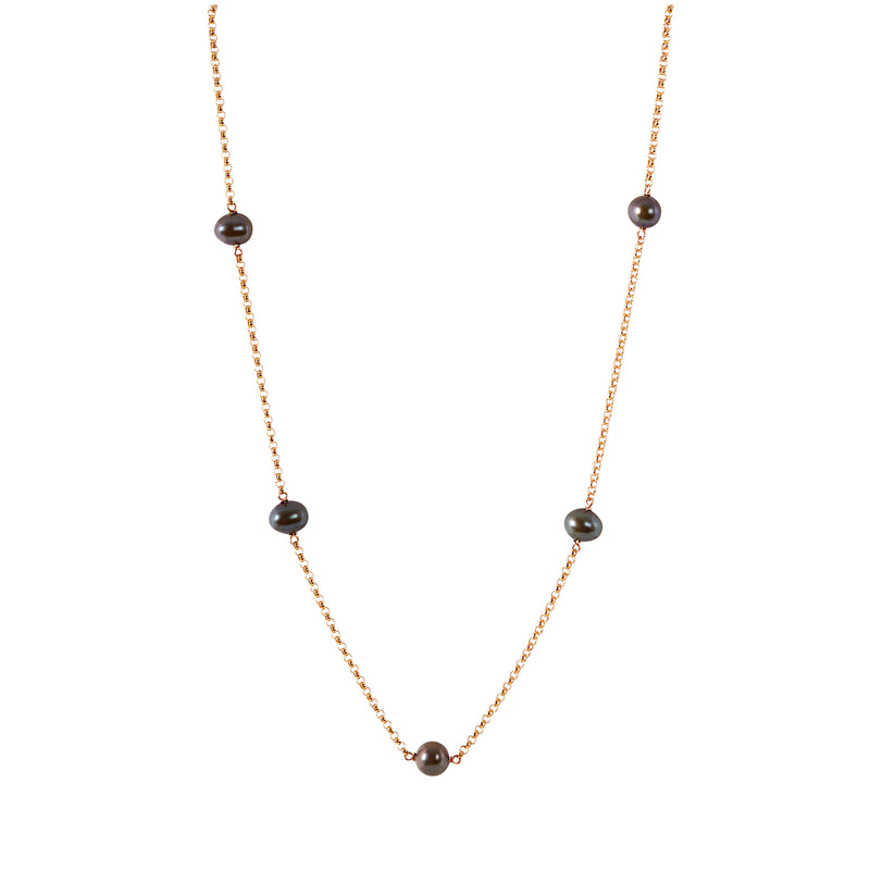 JUNO Black Pearl Necklace - Classic Pearl Choker, June Birthstone in 14k Solid Gold, Rose Gold or Sterling Silver