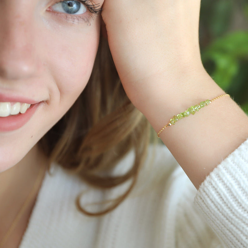 Raw Peridot Bracelet in Gold