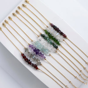 "Raw Crystal Bracelets with Lobster Clasp and 1,5"" Extension chain"