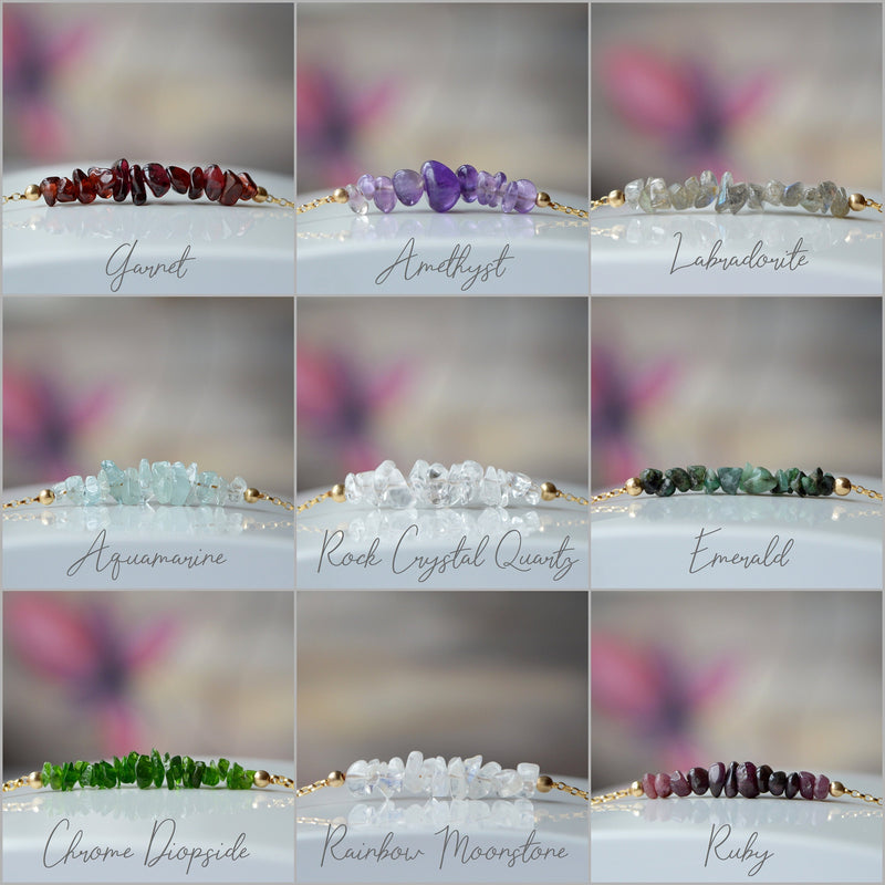 Raw Birthstone Bracelets for January February March April May June July